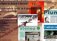 4 octombrie 2018 – Seară Literară – revistele literare băcăuane