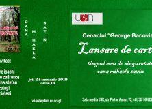 """CENACLUL """"GEORGE BACOVIA"""" – Lansare de carte – Oana Mihaela Savin"""