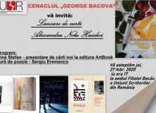 """CENACLUL """"GEORGE BACOVIA"""" Filiala USR Bacău – 27 febr. 2020"""